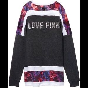 VS PINK bling crew neck cropped jersey